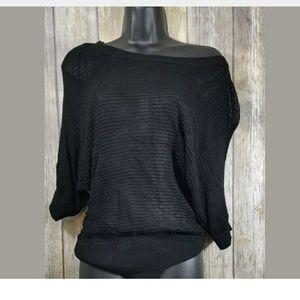 Takeout Sheer/net knit dolman shirt black large